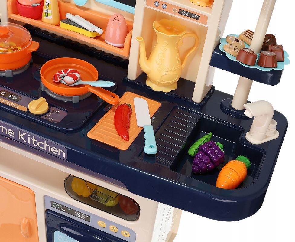Zabawkowa kuchnia dla dzieci kuchenka światła dźwięki naczynia sztućce