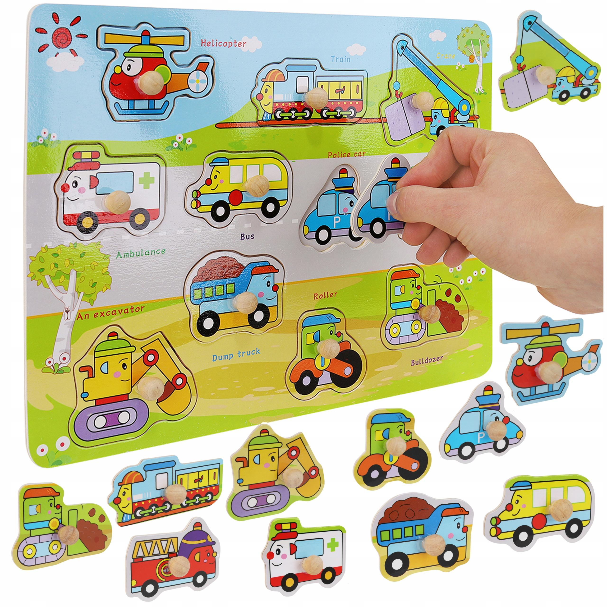 Układanka drewniana klocki edukacyjne dla dzieci pojazdy