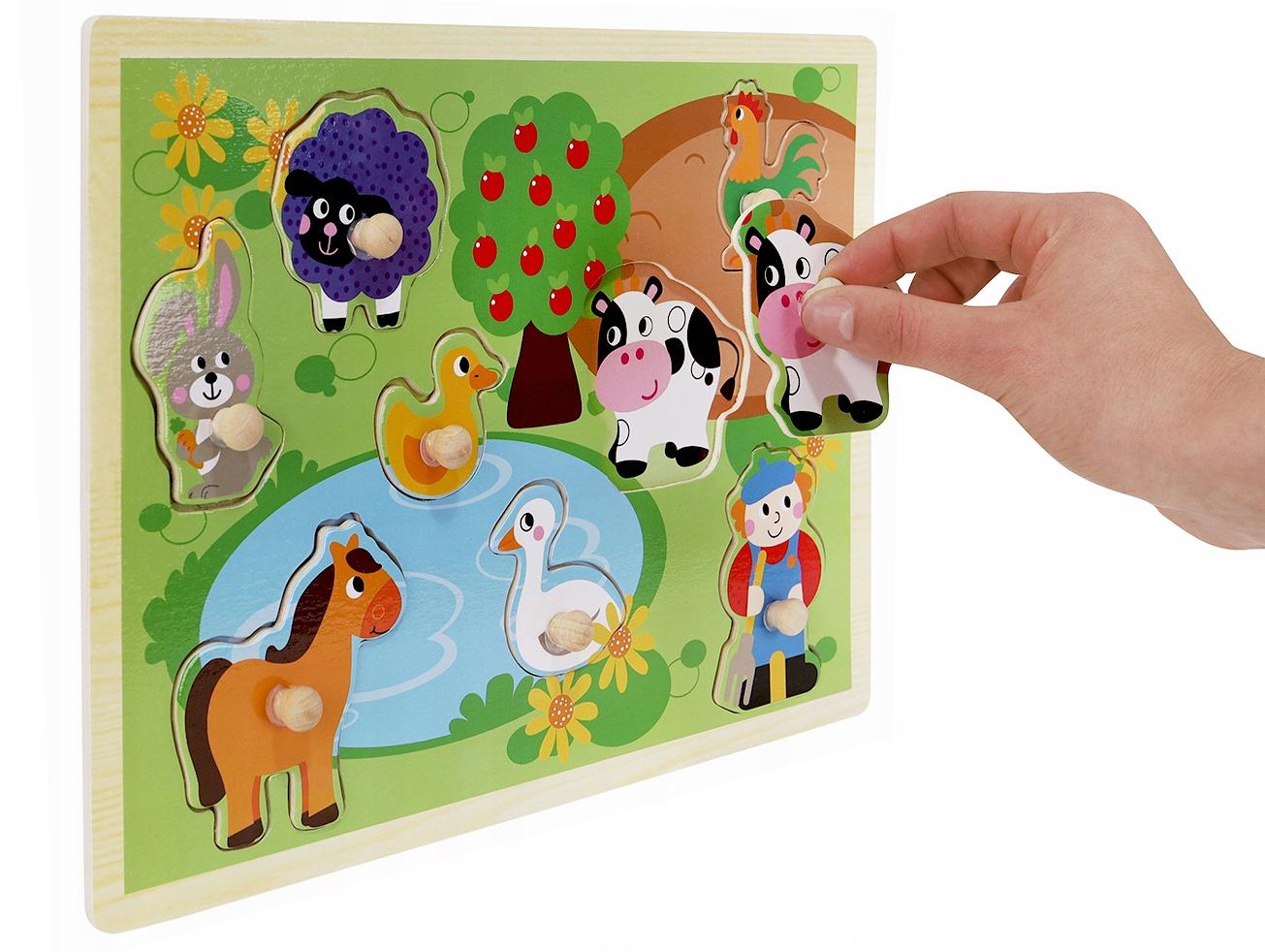 Układanka drewniana klocki edukacyjne dla dzieci gospodarstwo zwierzątka