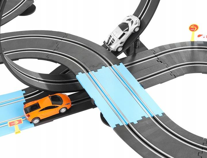 Tor samochodowy elektryczny na prąd wyścigowy 2 pętle 2 autka XXL