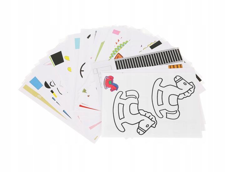 50 WZORÓW Do zestawu dołączono 50 różnych wzorów, które pozwolą na stworzenie wielu projektów. Znajdziesz w nich m.in. bajkowe postacie, budowle, zwierzęta, kwiaty, liście, pojazdy itd. Zestaw zapewnia wiele godzin świetnej zabawy, czego efektem będą zjawiskowe projekty.