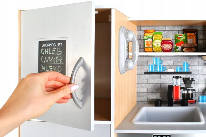 Kuchnia drewniana zabawkowa kuchenka światło lodówka dla dzieci piekarnik