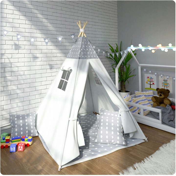 Domek dla dzieci Tipi 120 x 120 x 160 namiot wigwam okno poduszki miękka mata