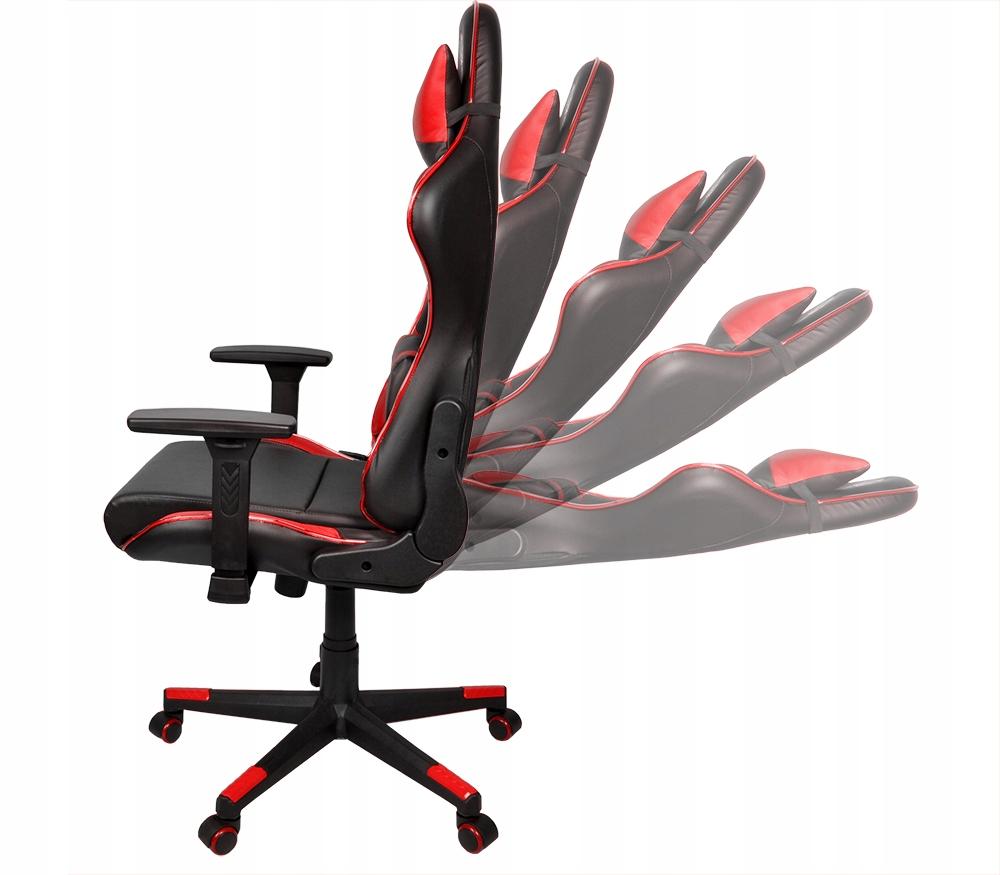 Fotel gamingowy obrotowy dla gracza kubełkowy LED rozkładany