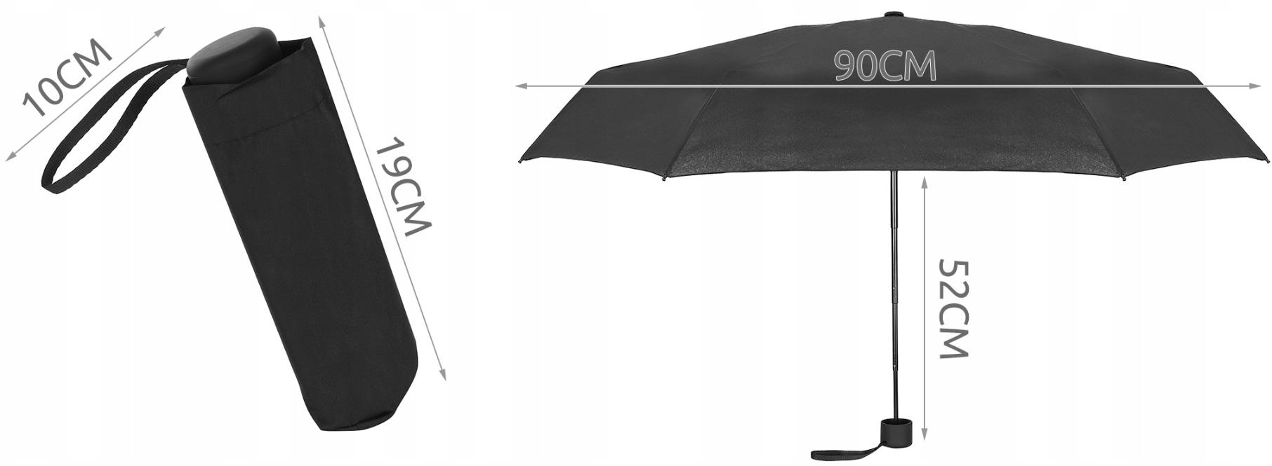 Parasol składany mała parasolka włókno mały 18cm z pokrowcem porządny do plecaka