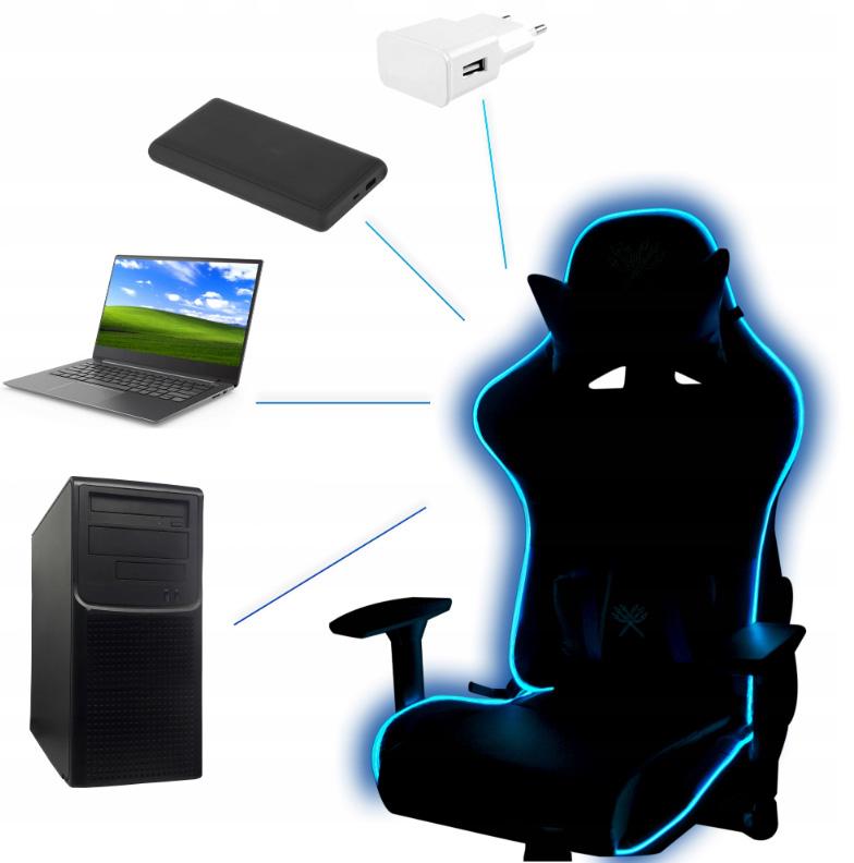 Fotel gamingowy obrotowy dla gracza kubełkowy z podświetleniem LED rozkładany