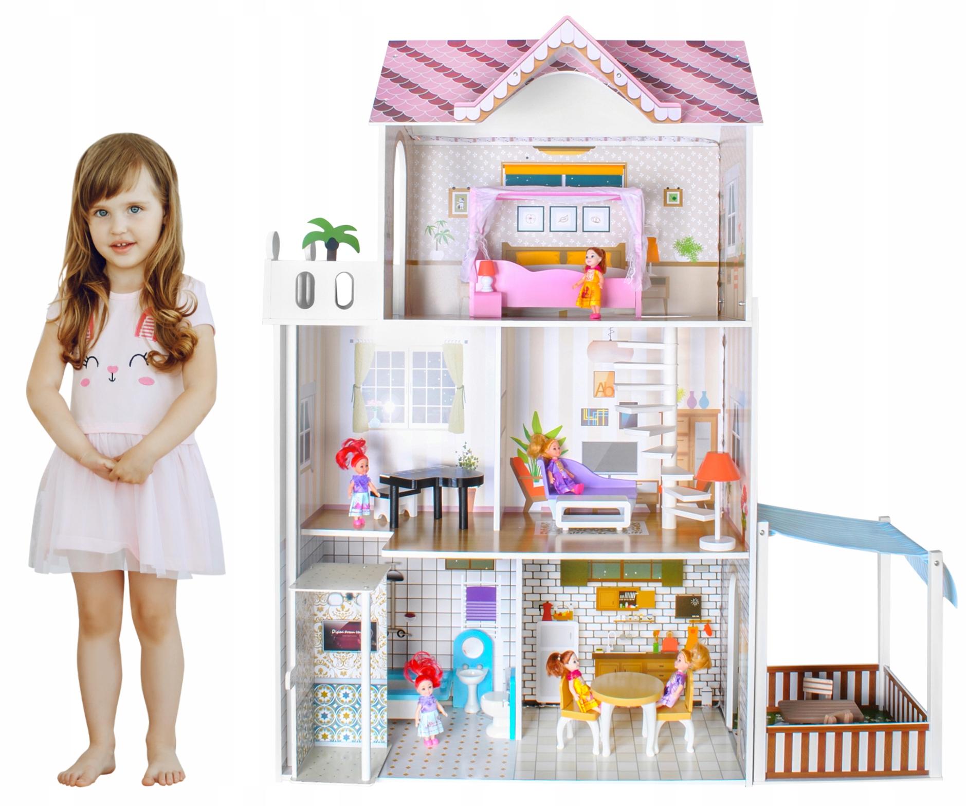 Drewniany domek lalki zestaw zabawki dla LALEK willa mebelki XXL