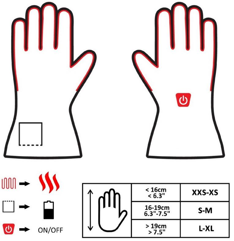 Ogrzewane rękawice GEG GLOVii grzejące z akumulatorem uniwersalne ciepłe i wygodne