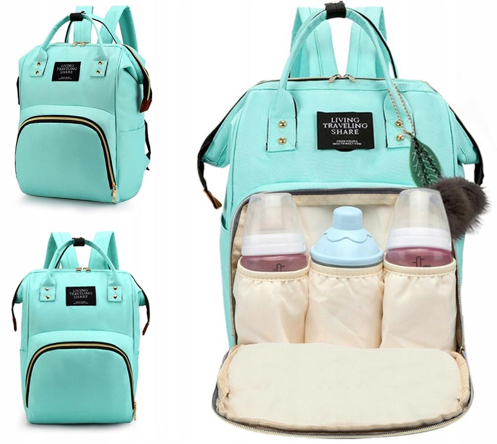 Pojemna torba do wózka plecak dla mamy taty organizer na butelki pieluszki 3w1