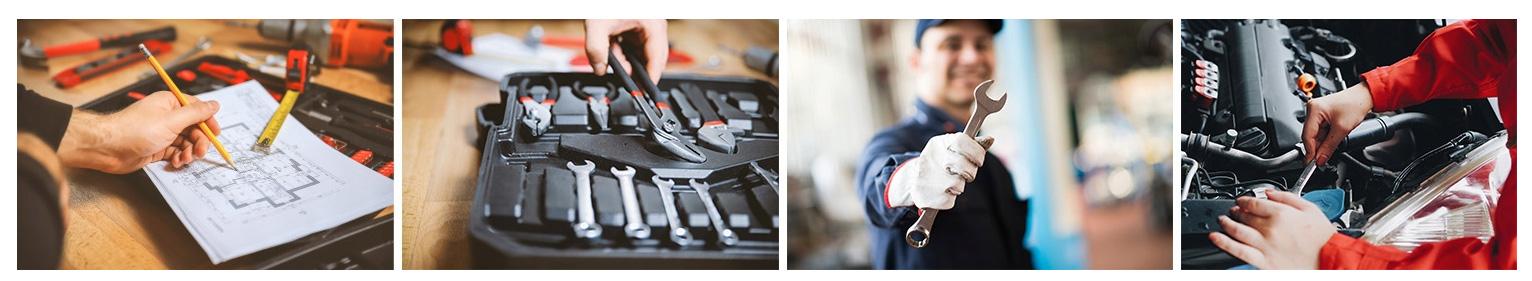 Zestaw narzędzi kluczy wszystko w walizce poziomica śrubokręty młotek pistolet
