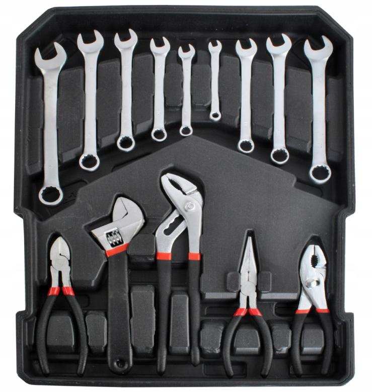 Zestaw narzędzi kluczy w walizce 1000 elementów 4 szuflady śrubokręty młotek i wiele innychki nastawny szczypce ucinaczki