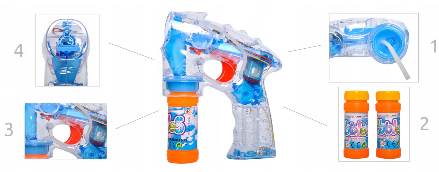 Pistolet do Baniek Mydlanych Automat Świecący LED