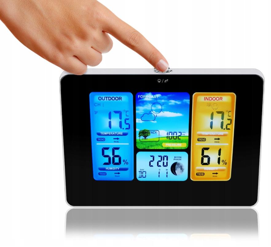 Bezprzewodowa stacja pogodowa pogody zegar budzik termometr data czujnik zewnętrzny