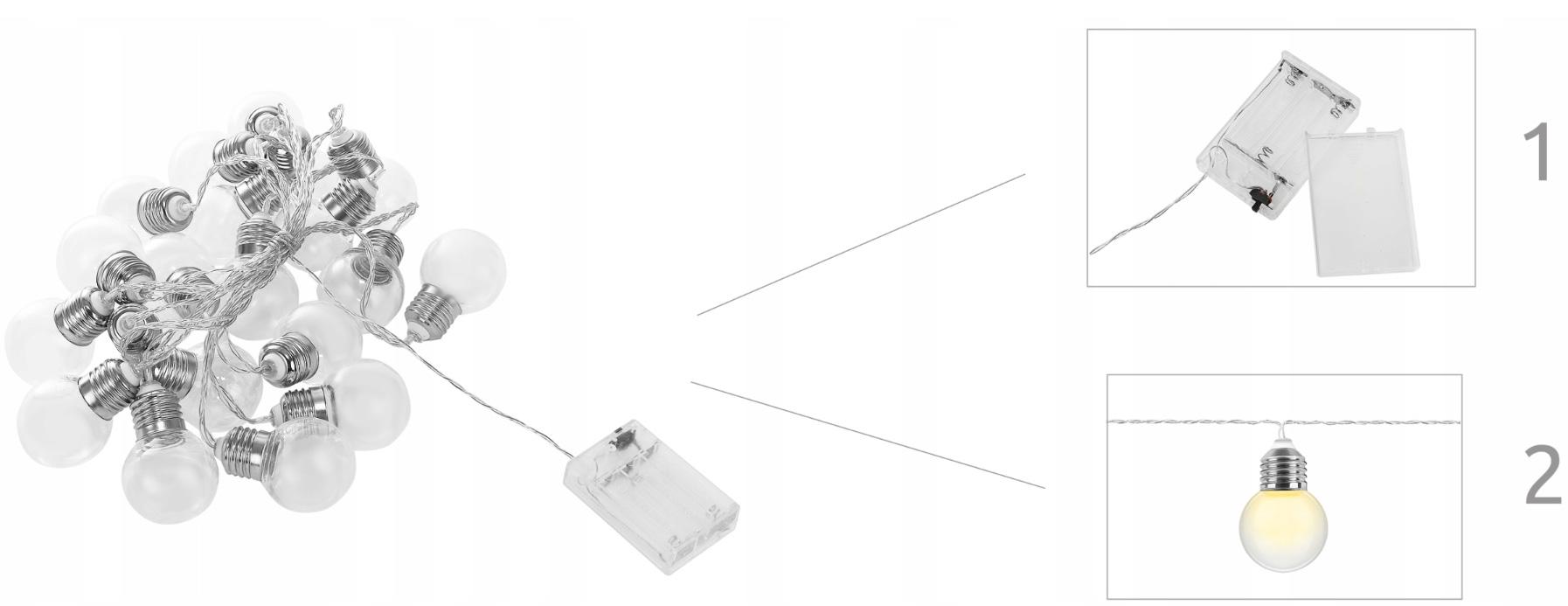 Rewtro lampki żarówki 20 LED ozdobne na baterie girlanda 520cm na okno obraz