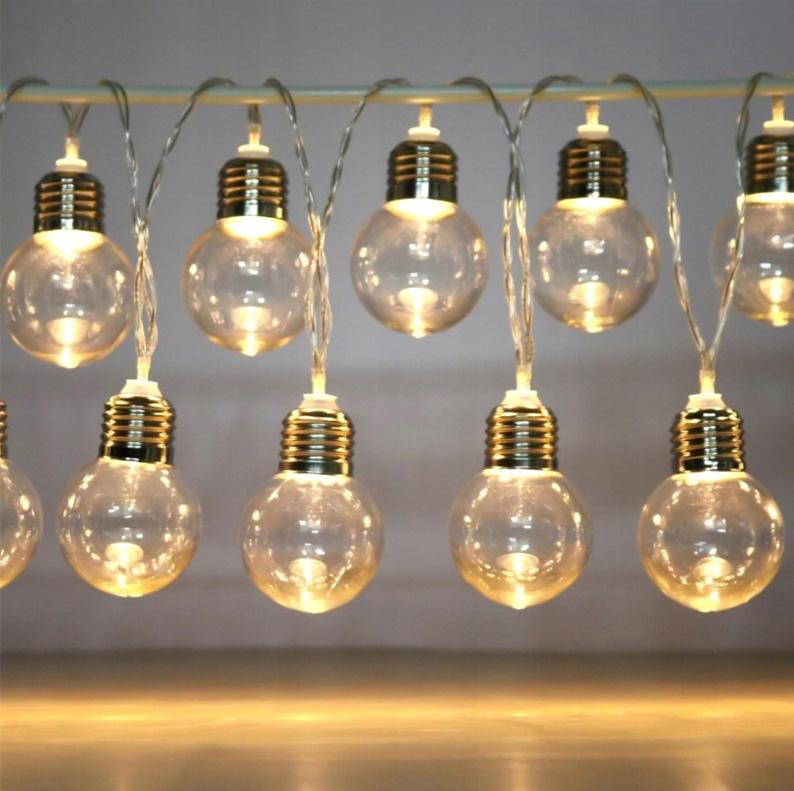 Retro lampki żarówki 20 LED ozdobne na baterie girlanda 520cm na okno obraz