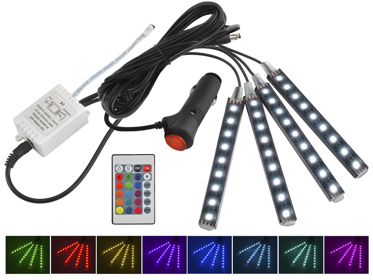 Kolorowe oświetlenie listwy LED RGB multikolor sterowanik pilot na 12V do samochodu