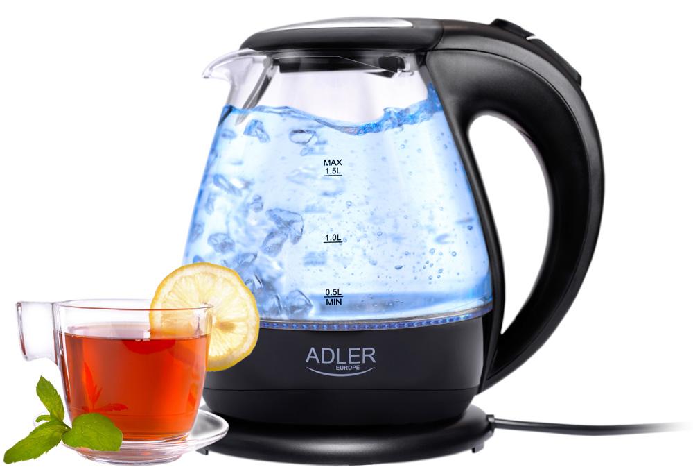 Czajnik elektryczny 1,5 L szklany z niebieskim podświetleniem Adler AD 1224