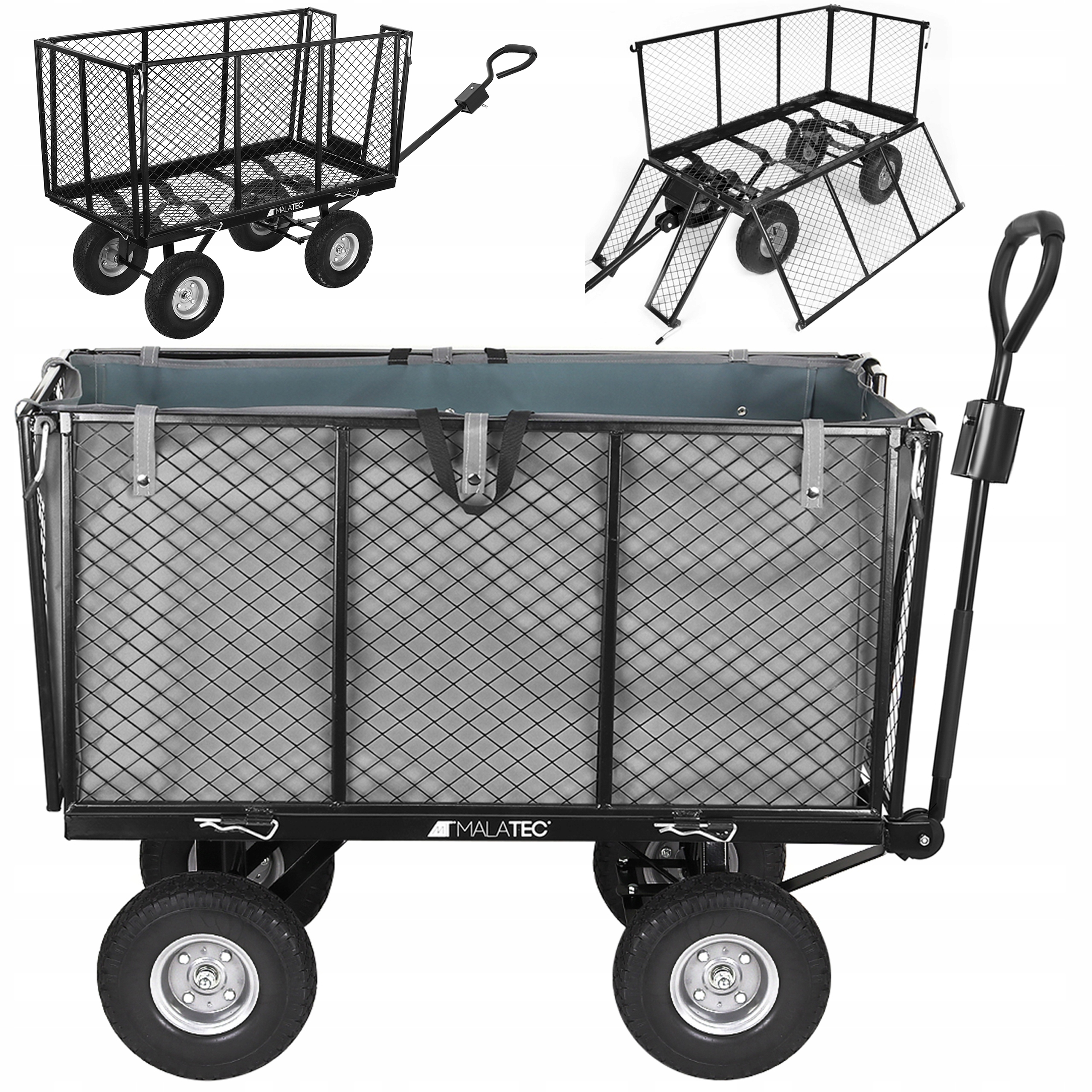 Wózek ogrodowy przyczepka do ciągnięcia składane ściany ładowność 600 kg
