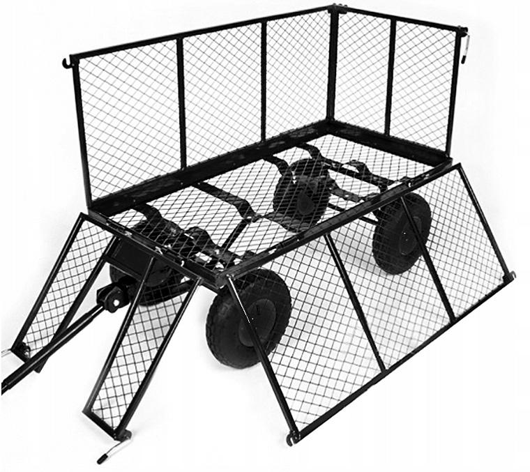 Wózek ogrodowy przyczepka do ciągnięcia otwierane burty ładowność 600 kg