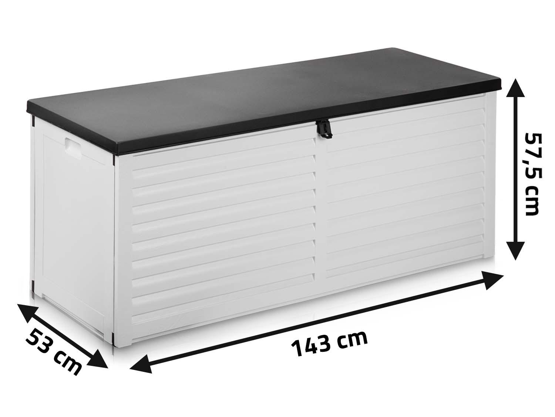 Zamykana skrzynia ogrodowa 390 L klapa na podnośnikach 143 x 57,5 x 53 cm