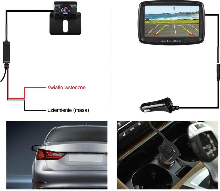 Bezprzewodowa kamera cofania Mistral z monitorem AUTO-VOX TD-2 łatwa instalacja