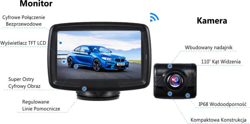 Bezprzewodowa kamera cofania z monitorem AUTO-VOX TD-2 szybki montaż