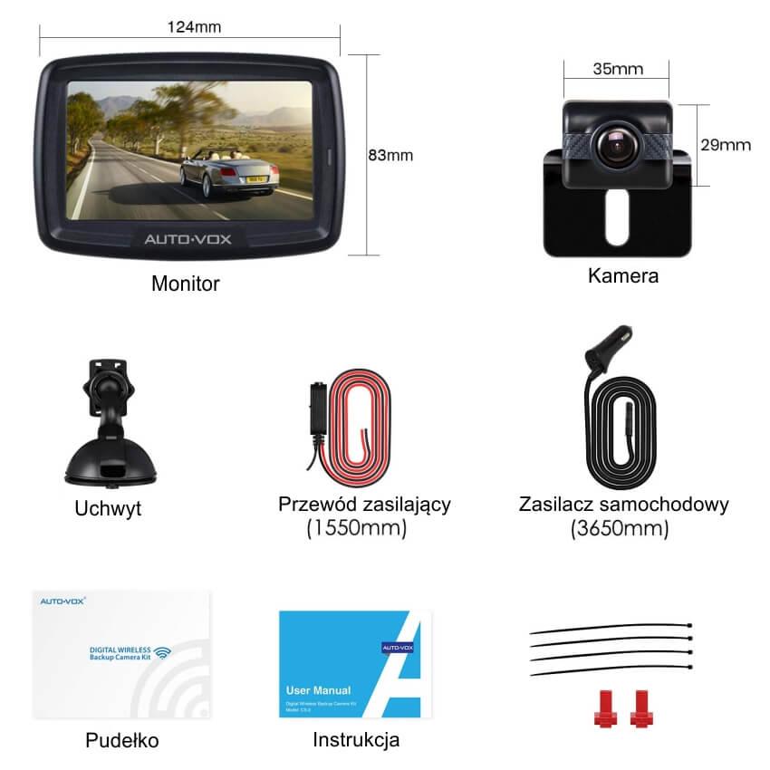Bezprzewodowa kamera cofania Mistral z monitorem AUTO-VOX TD-2 kompletny zestaw