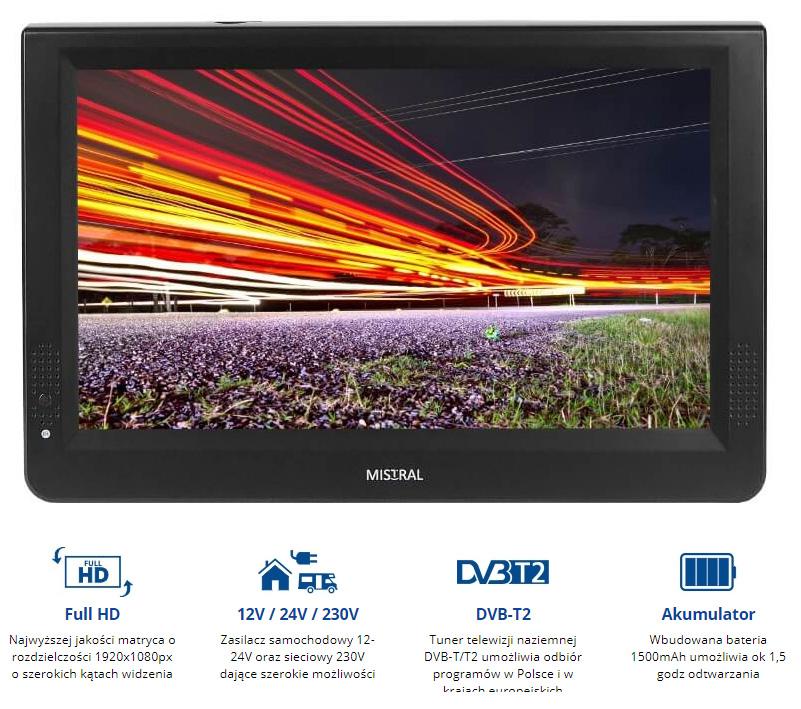 Telewizor mobilny przenośny 12'' LED 12V/24V/230V z tunerem DVB-T/T2 PVR