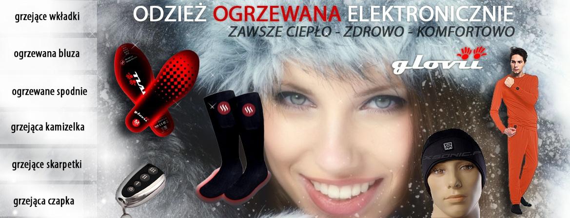 Odzież ogrzewana czapki GLOVII grzejące wkładki do butów spodnie rękawice narciarskie