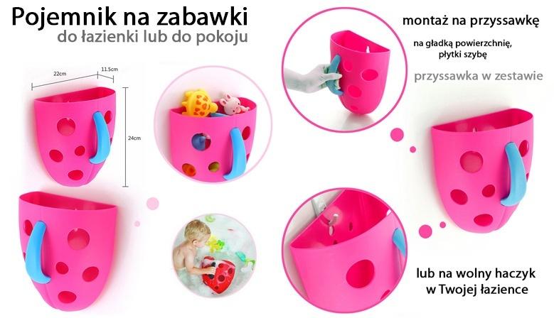 Pojemnik na ścianę do kąpieli na zabawki i do wyławiania zabawek z wanny